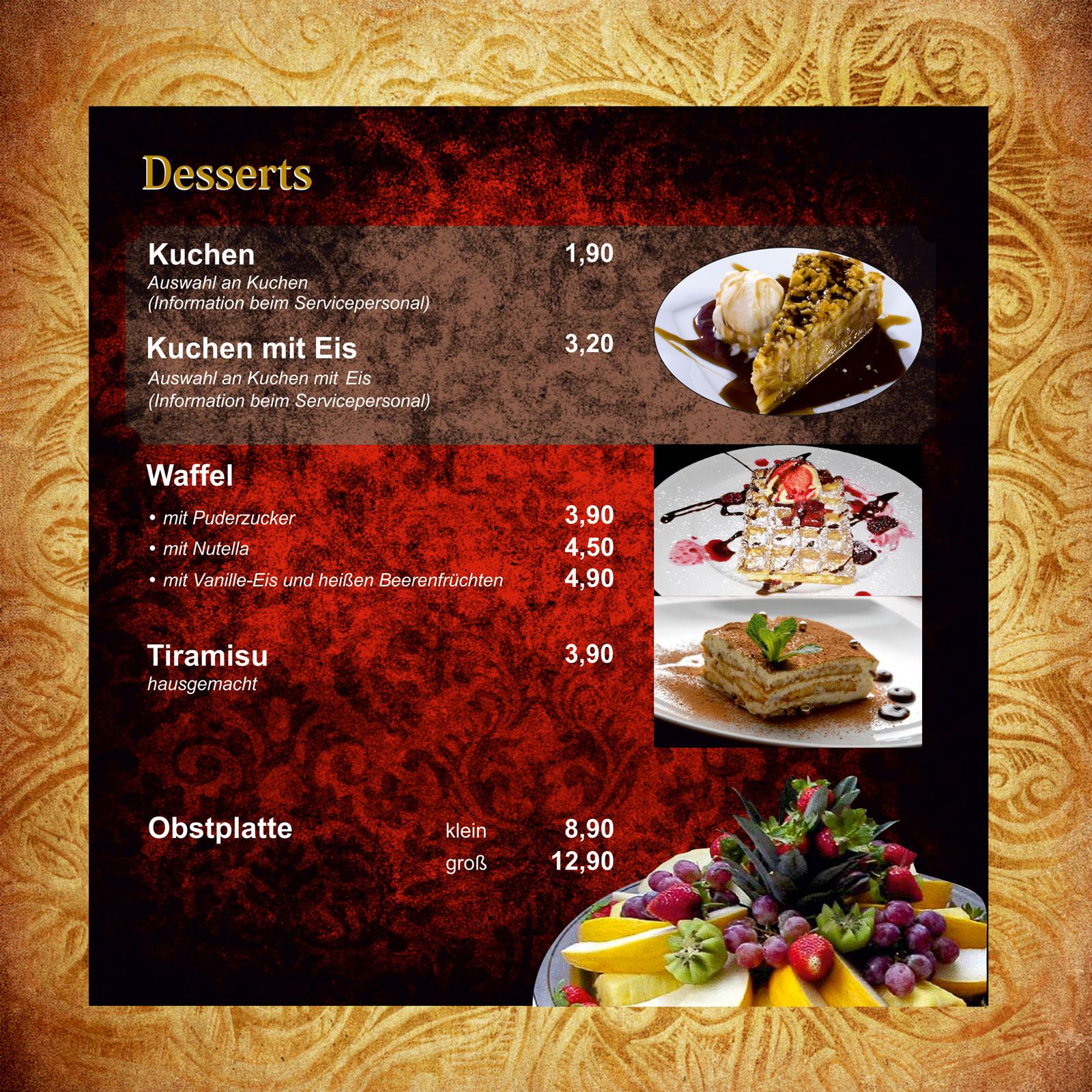 Menü Karte | Orient Lounge Ludwigshafen